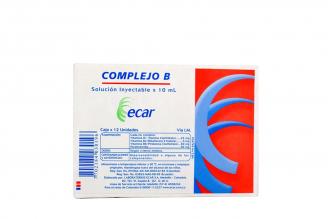 Complejo B Ecar Solución Inyectable Caja Con 12 Unidades Con 10 mL Rx