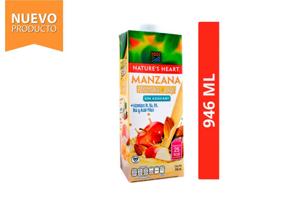 Bebida De Manzana + Almendra Sin Azúcar Nature's Heart Frasco Con 946 mL