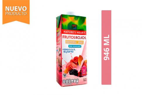 Bebida De Frutos Rojos + Almendra Sin Azúcar Nature's Heart Frasco Con 946 mL