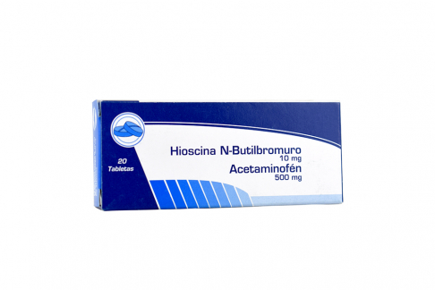 Acetaminofén 500 mg + Hioscina N-Butilbromuro 10 mg Caja Con 20 Tabletas