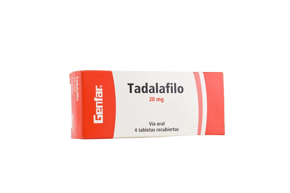 Tadalafilo 20 mg Caja Con 4 Tabletas Recubiertas Rx