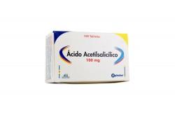 Ácido Acetilsalicílico 100 mg Caja Con 100 Tabletas