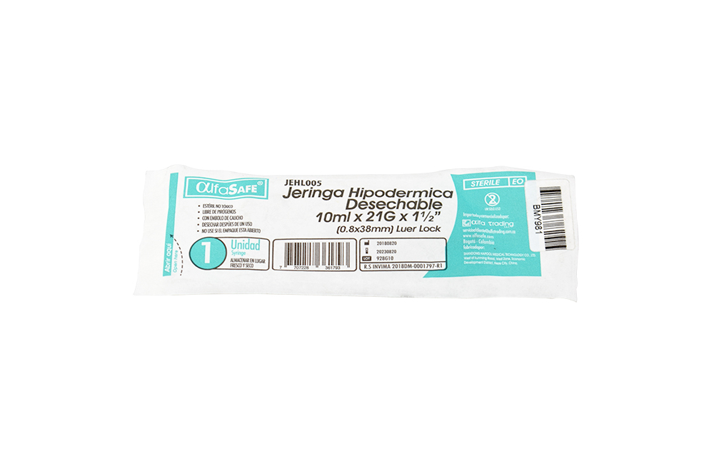 Jeringa Hipodérmica Desechable 10mL x 21G x 1½ Empaque Con 1 Unidad