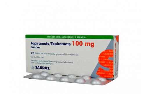 Topiramato Sandoz 100 mg Caja Con 20 Tabletas Recubiertas Rx4