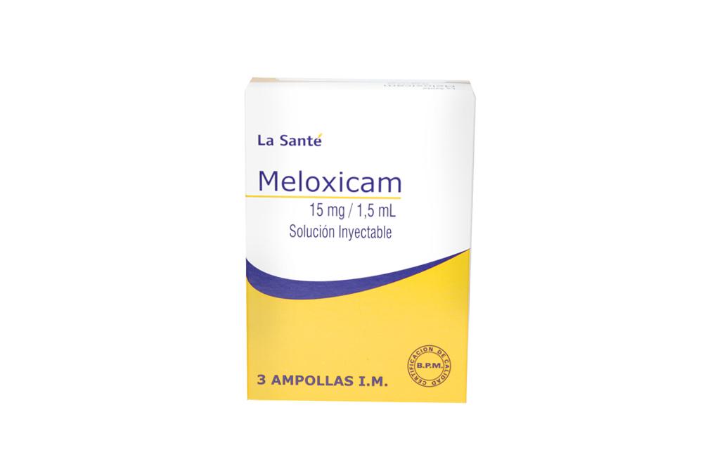 Meloxicam 15 mg / 1.5 mL Solución Inyectable Caja Con 3 Ampollas Rx