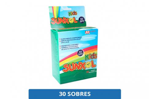 Bloqueador Solar Sunxol Kids 60 SPF Caja Con 30 Sobres Con 10 mL C/U