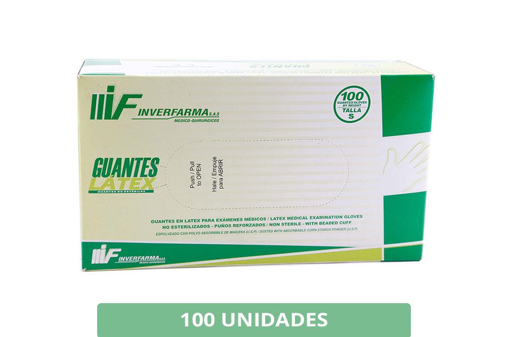 Guante Desechable Látex Para Examen No Estéril Inverfarma Talla S Caja Con 100 Unidades