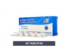 Acetaminofén - Codeína Fosfato 325 / 30 mg Caja Con 30 Tabletas Rx