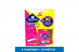 Tampones Nosotras Con Aplicador Caja Con 8 Unidades + 10 Pañitos Húmedos Íntimos