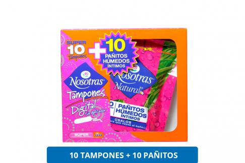 Tampones Nosotras + Pañitos Húmedos Caja Con 10 Unidades C/U