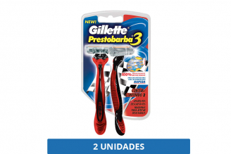 Máquina Para Afeitar Gillette Prestobarba 3 Roja Empaque Con 2 Unidades