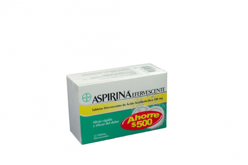 Aspirina Efervescente 500 mg Caja Con 12 Tabletas AH