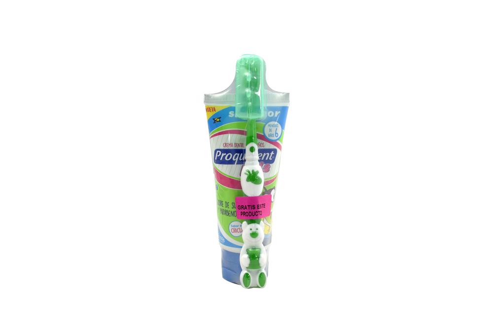 Crema Dental Proquident Kids Gratis Cepillo Caja Con Tubo Con 75 mL