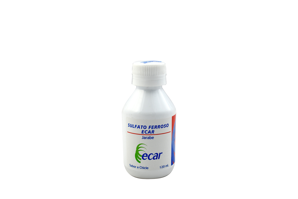 Sulfato Ferroso Ecar Jarabe Frasco Con 120 mL Rx - Sabor Chicle