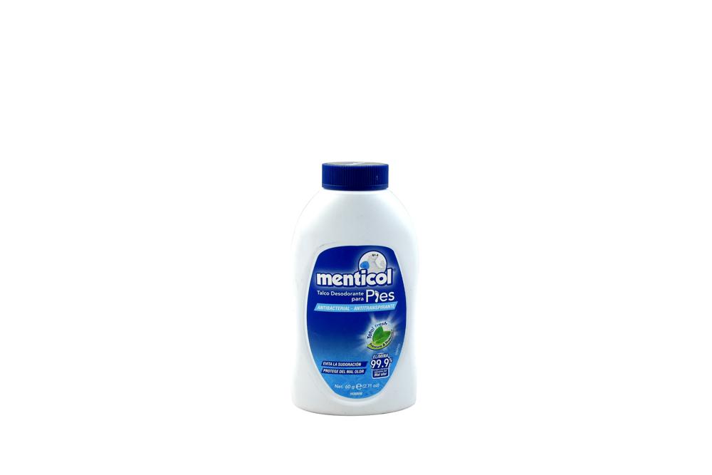 Desodorante Talco Menticol Para Pies Hombre Frasco Con 60 g