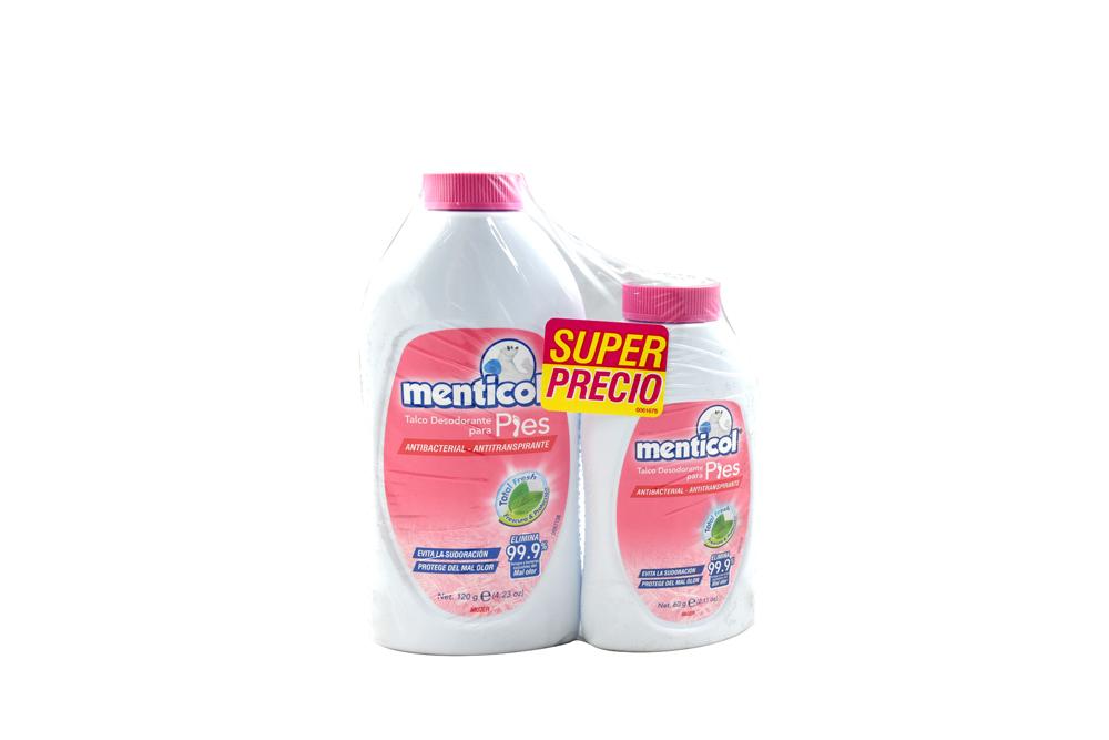 Talco Desodorante Menticol Para Pies Mujer Frasco Con 120 g + Frasco Con 60 g
