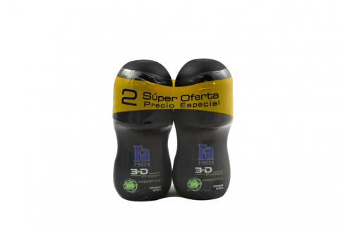 Desodorante Fa For Men Free Style Empaque Con 2 Roll On Con 50 mL C/U
