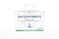 Diclofenaco  75 mg / 3 mL Inyectable X 6 Ampollas