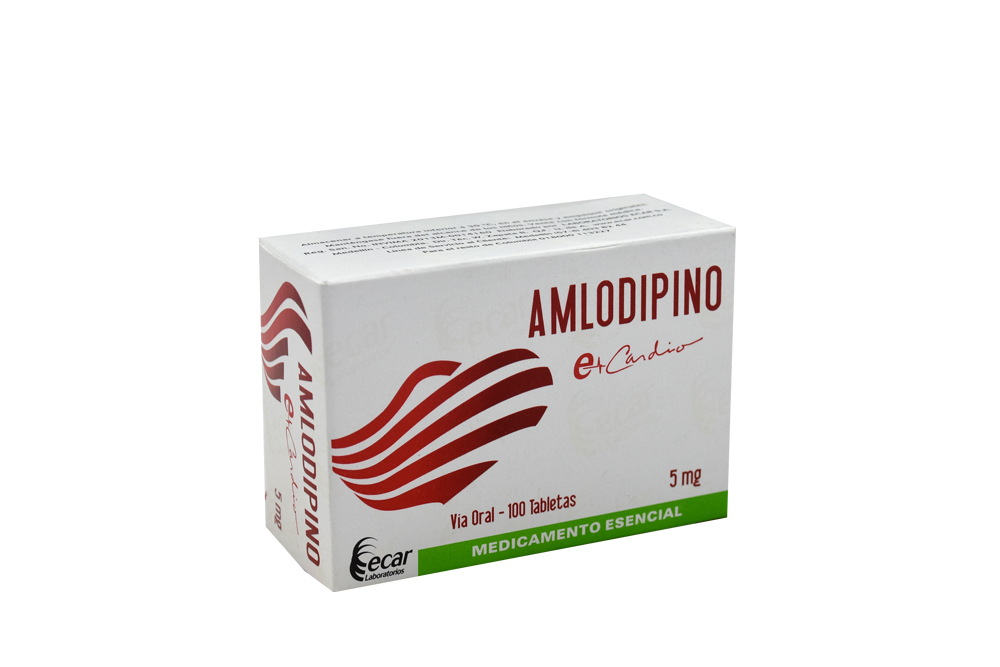 Amlodipino Ecar 5 mg Caja Con 100 Tabletas Rx