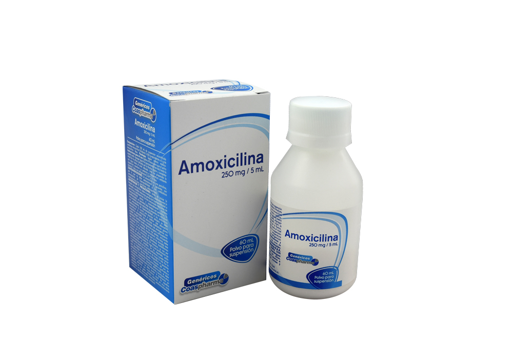 Amoxicilina 250 mg / 5 mL Polvo Para Suspensión Caja Con Frasco Con 60 mL Rx2
