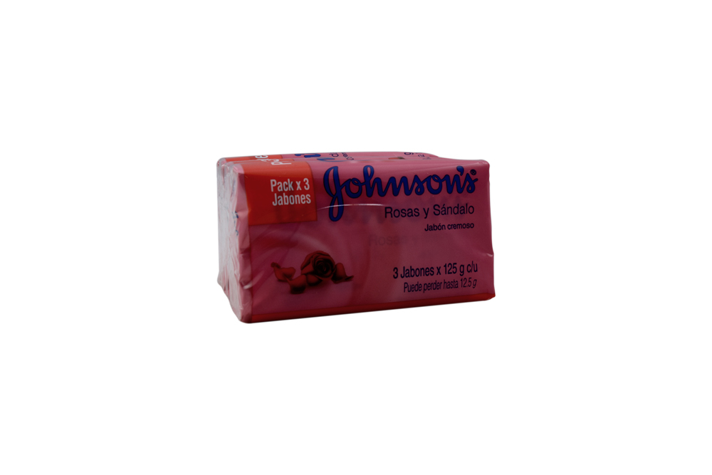 Jabón Johnson's Rosas Sándalo Paquete Con 3 Barras Con 125 g C/U