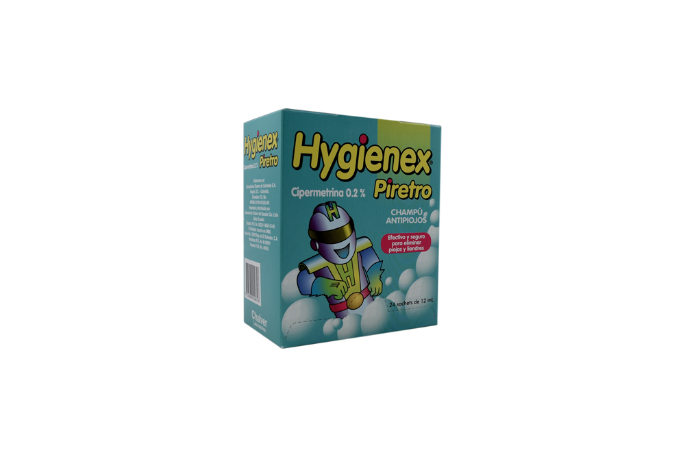 Hygienex Piretro Champú Antipiojos Caja Con 24 Sachets Con 12 mL C/U