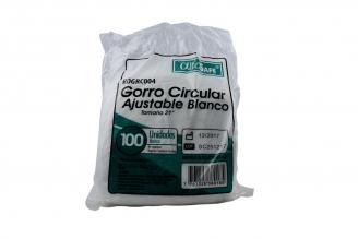 "Gorro Quirúrgico Circular Ajustable Alfa Blanco 21"" Empaque Con 100 Unidades"