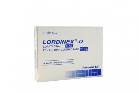 LORDINEX D 10 MG CAJA X 10 CÁPSULAS Rx