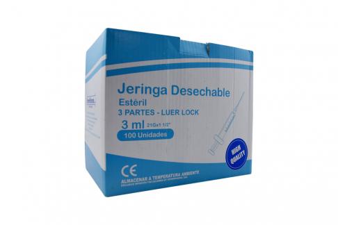 """Jeringa Desechable 3 Partes 3 mL Aguja 21G x 1 ½"""" Begut Caja Con 100 Unidades"""