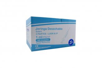 Jeringa 1 mL Insulina 3 Partes 27 g Aguja Removible Begut Caja Con 100 Unidades