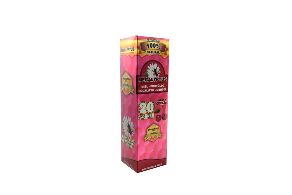 Megalyptus 400 g Caja Con 20 Sobres Con 4 Dulces - Sabor a Cereza