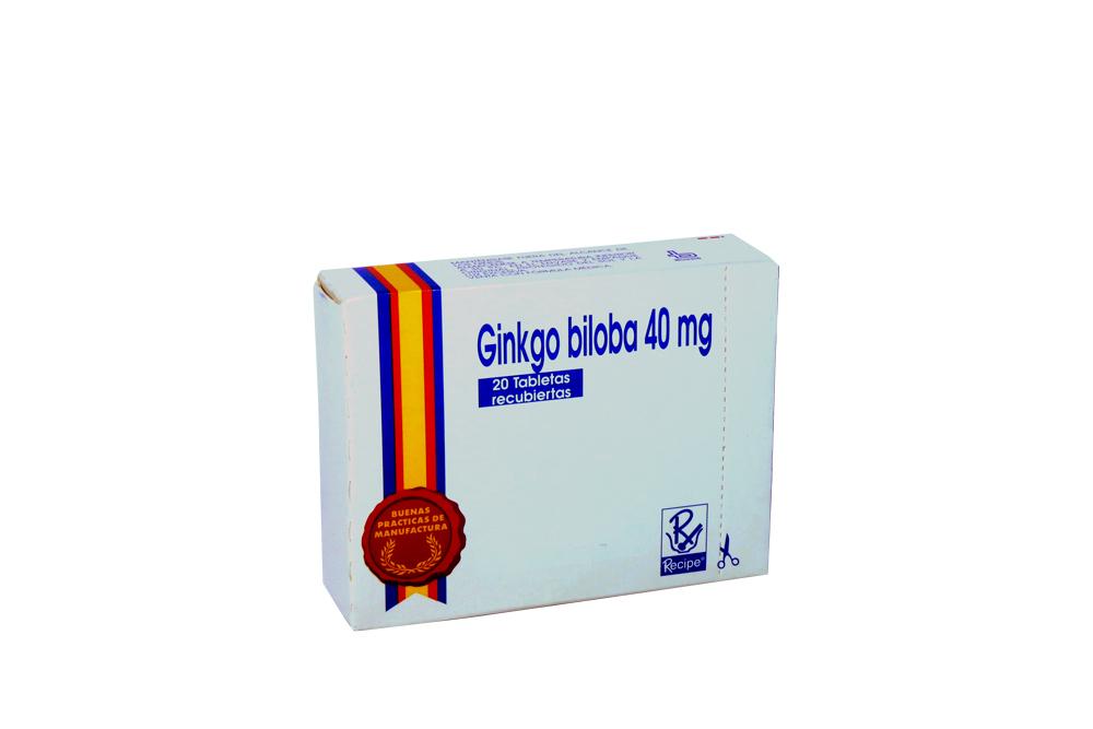 Ginkgo Biloba 40 mg Caja Con 20 Tabletas Recubiertas Rx