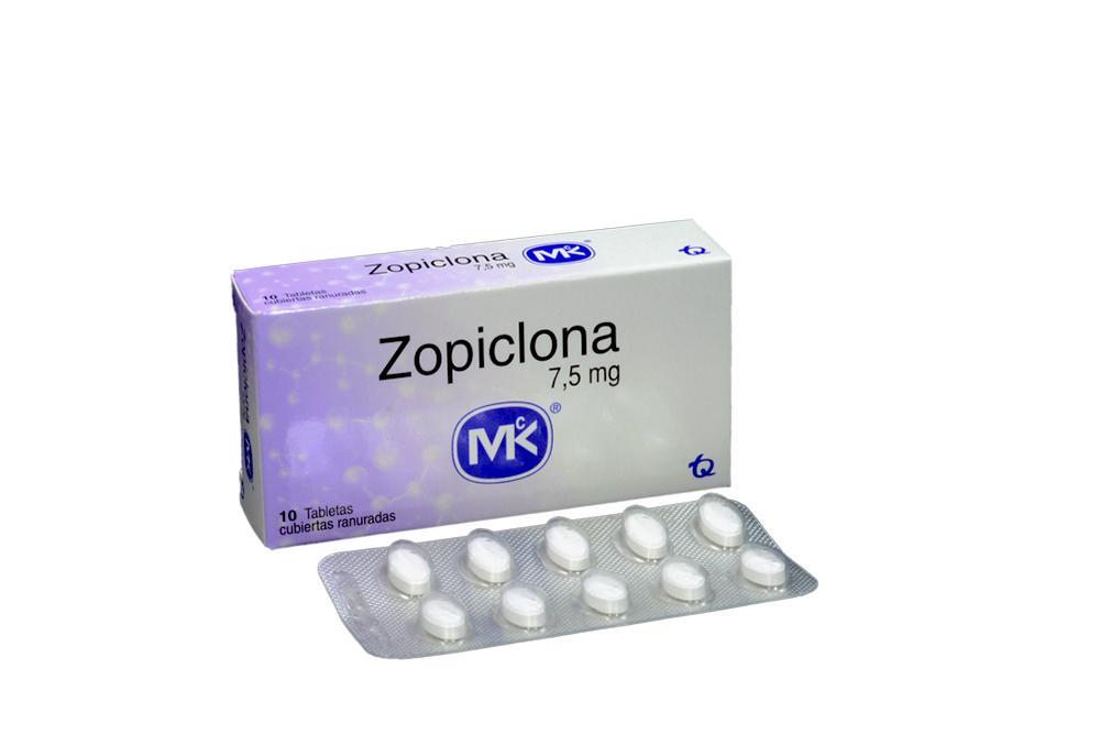 Zopiclona MK 7.5 mg Caja Con 10 Tabletas Cubiertas Ranuradas Rx