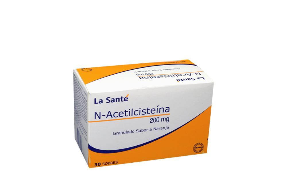 N- Acetilcisteína 200 Mg Caja Con 30 Sobres Granulados - Sabor Naranja