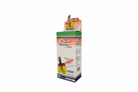 C-Grip 500 mg Caja Con 100 Tabletas Masticables - Sabor Tropical