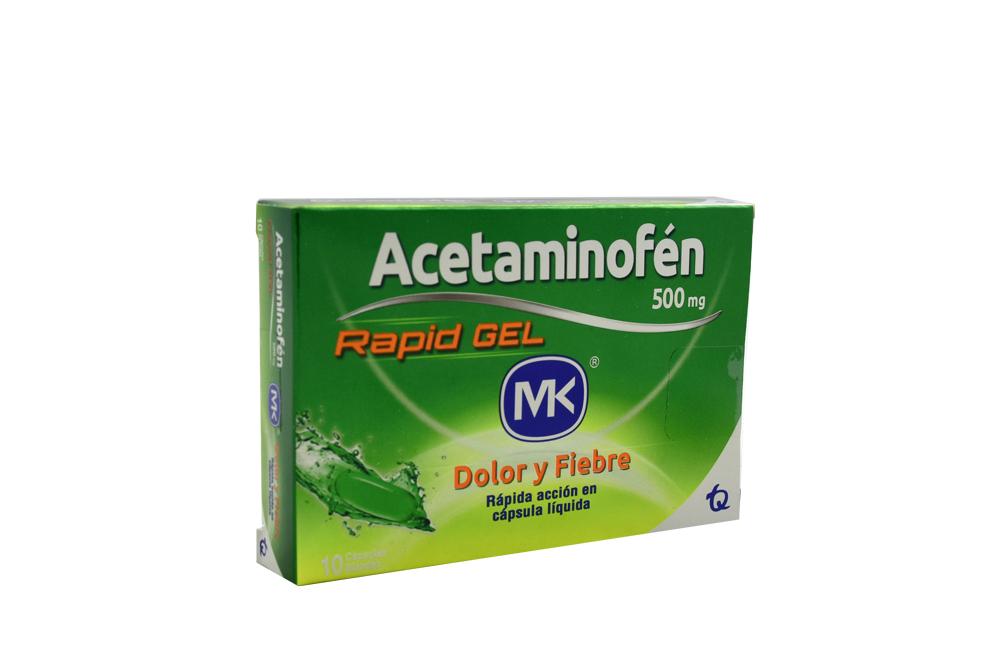 Acetaminofén Mk Rapid Gel 500 Mg Caja Con 10 Tabletas