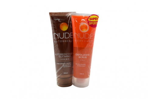 Crema Autobronceadora Nude 120 mL + Gel Exfoliante Nude 120 mL