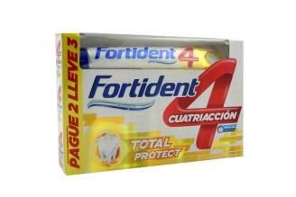 Crema Dental Fortident Cuatriacción Capa Protectora Caja Con 3 Tubos Con 70 mL C/U