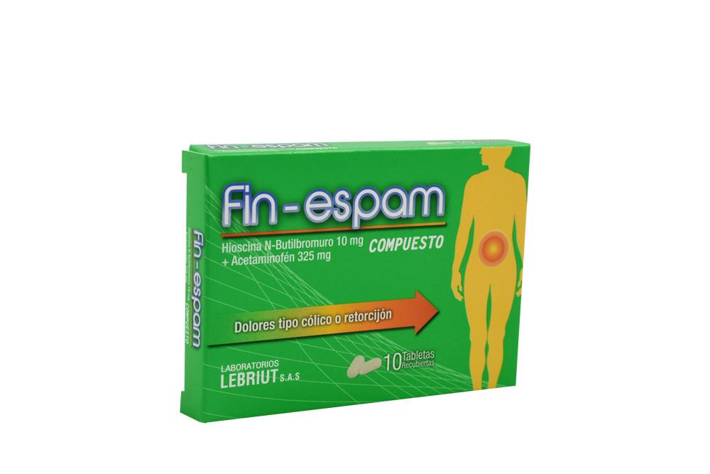 Fin-Espam Hioscina N-Butil Bromuro 10 Mg + Acetaminofen 325 Mg Caja Con 10 Tabletas