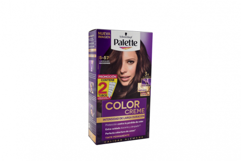 Tinte Palette Color Creme 5-57 Chocolate Macadamia Caja Con 1 Kit Con 2 Tubos