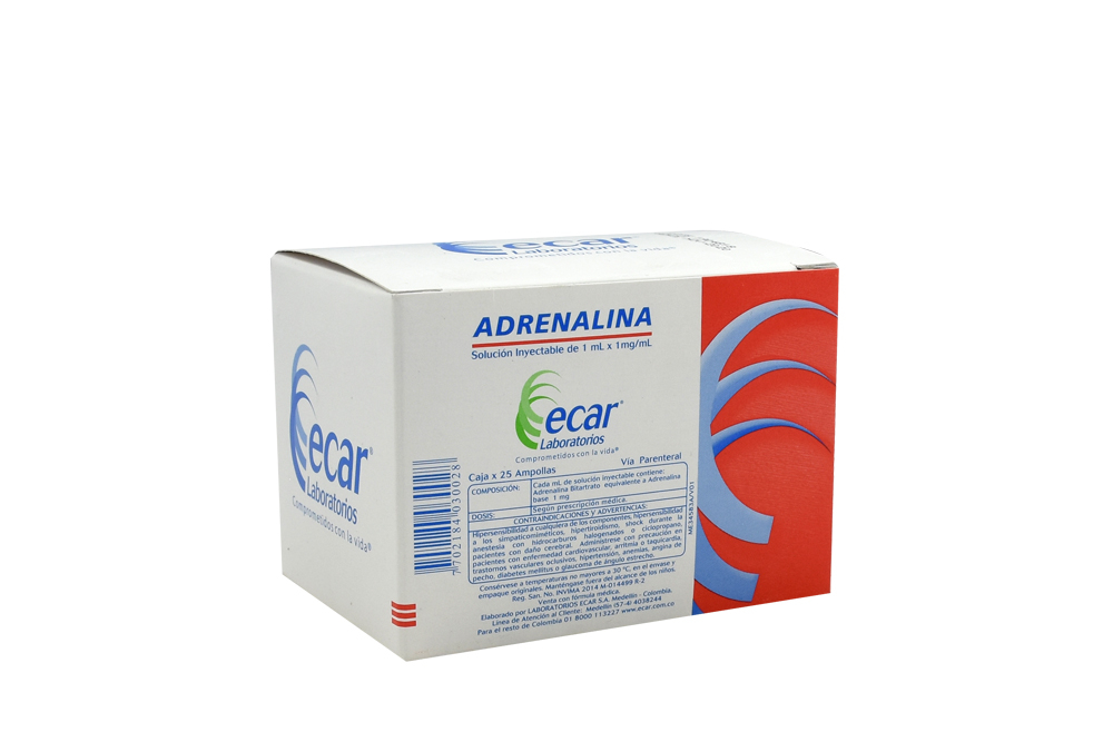 Adrenalina 1mL /1mg /mL Caja Con 25 Ampollas Rx