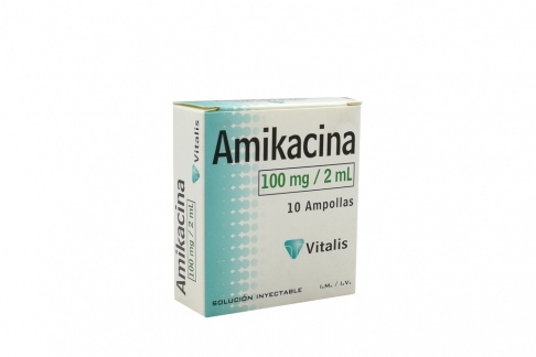 Amikacina 100 mg / 2 mL Caja X 10 Ampollas RX2