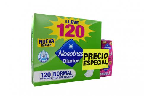 Protectores Nosotras Diario Caja Con 120 Unidades + 30 Unidades