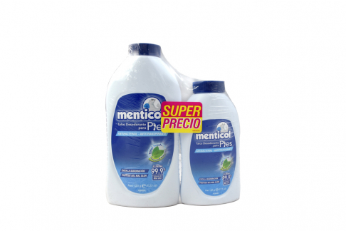 Talco Desodorante Menticol Para Pies Hombre Frasco Con 120 g + Frasco Con 60 g