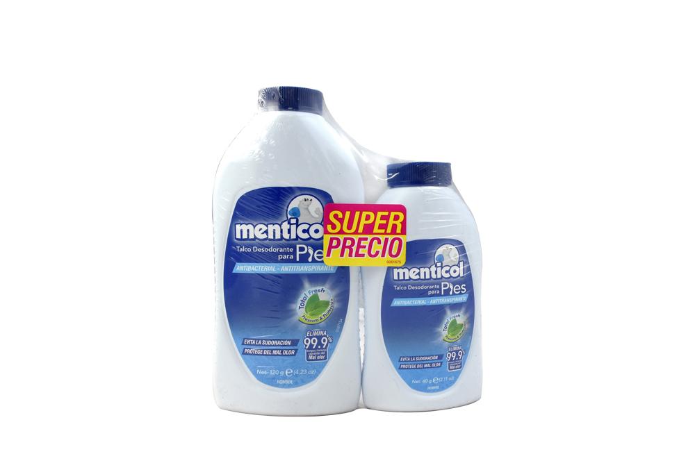 Desodorante Para Pies Menticol Talco Hombre Frasco Con 120 Gratis 60 g