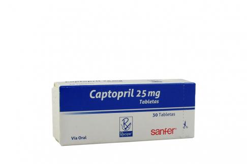 Captopril 25 mg Caja Con 30 Tabletas Rx