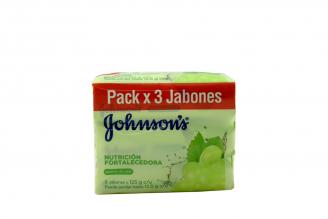 Jabón Johnson's Nutrición Fortalecedora Empaque Con 3 Barras Con 125 g C/U