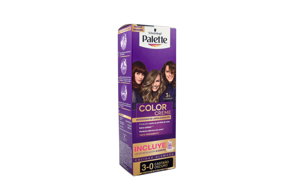 Tinte Palette Color Creme 3-0 Castaño Oscuro Caja Con 1 Kit