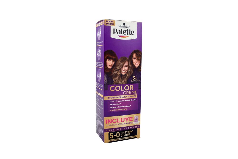 Tinte Palette Color Creme 5-0 Castaño Claro Caja Con 1 Kit