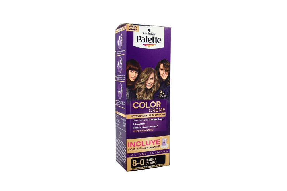 Tinte Palette Color Creme 8-0 Rubio Claro Caja Con 1 Kit